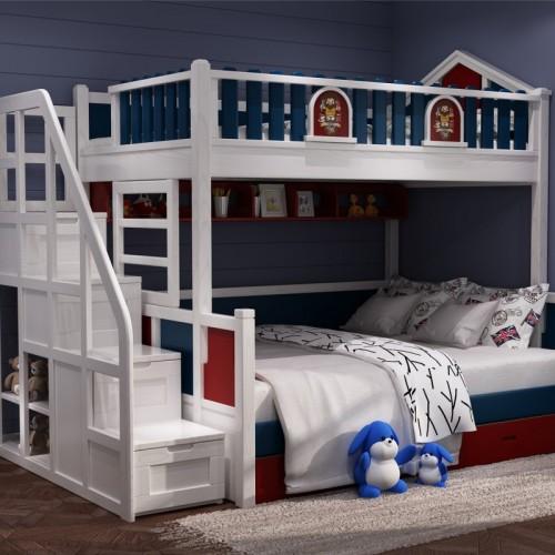 男童带楼梯上下铺 男童卧室上下铺_林中小屋带楼梯柜改色02