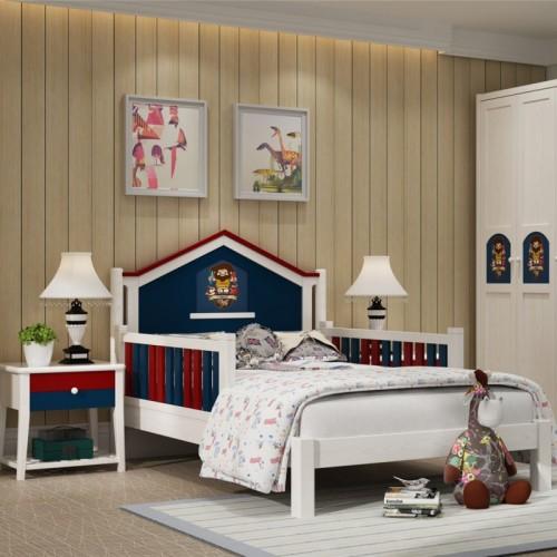男童卧室套房单人床三门衣柜书架_森林庄园