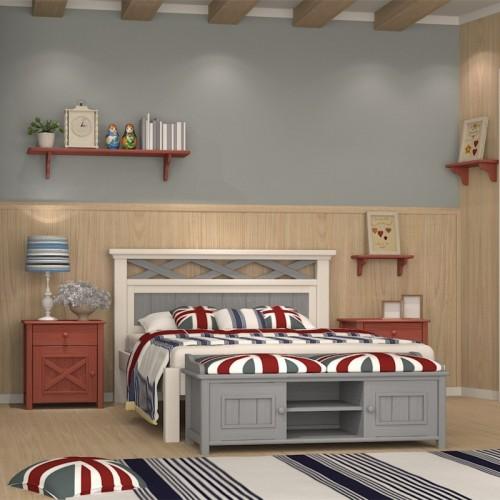 儿童套房灰色单人床三门衣柜+书桌 男童卧室英伦堡系列套房_英伦堡