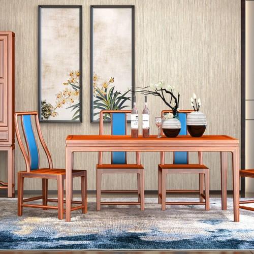 新中式仿古乌金木餐桌椅08
