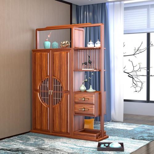 新中式乌金木间厅柜装饰隔断柜02