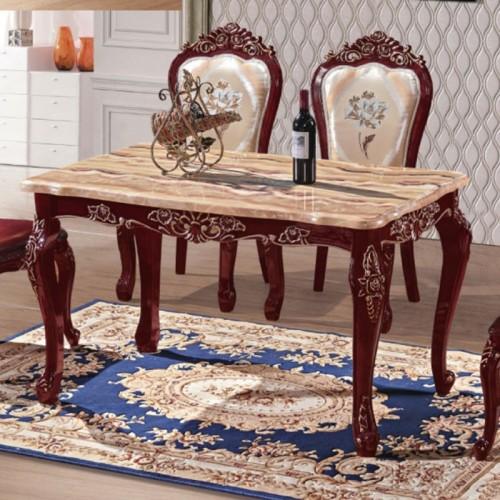 奢华欧式红龙玉理石餐桌餐椅批发厂家 620