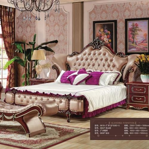 欧式奢华雕花双人床套房批发厂家   8818-2