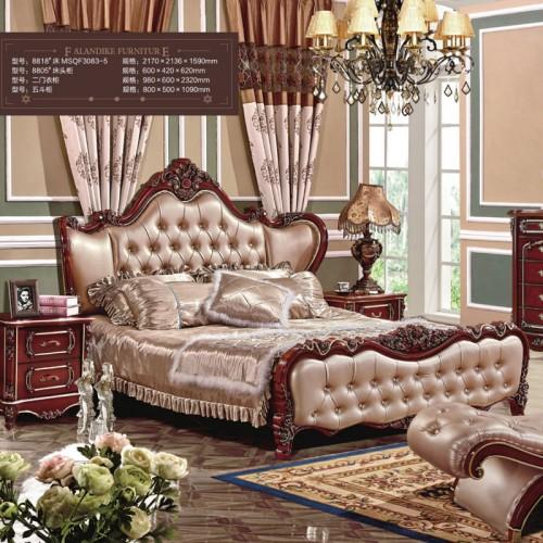 欧式别墅雕花双人床套房批发厂家   8818