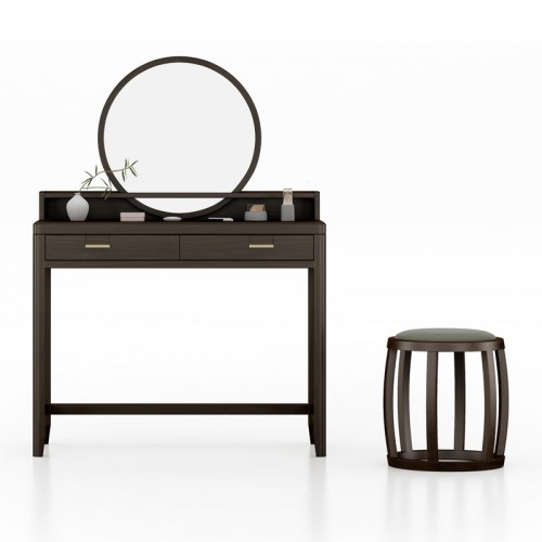 实木梳妆台卧室化妆桌带镜子03