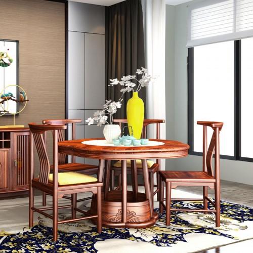 现代禅意轻奢乌金木圆桌餐椅10
