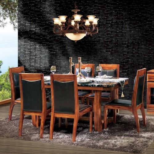简约餐厅乌金木餐桌餐椅11