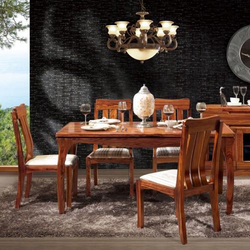 餐厅家具乌金木餐桌餐椅12