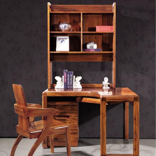 厂家直销乌金木书桌书柜一体家具08