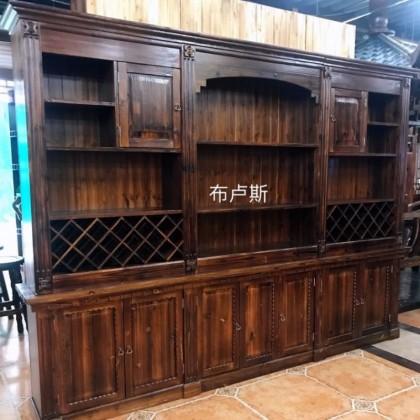 香河碳化木酒柜书柜实木红酒架私人会所家用的茶室茶柜厂家直销