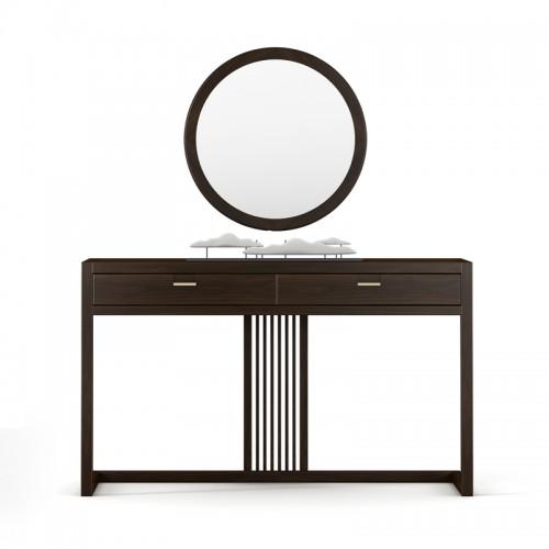 新中式实木玄关桌圆镜05