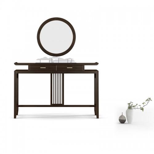 别墅客厅实木玄关桌圆镜06