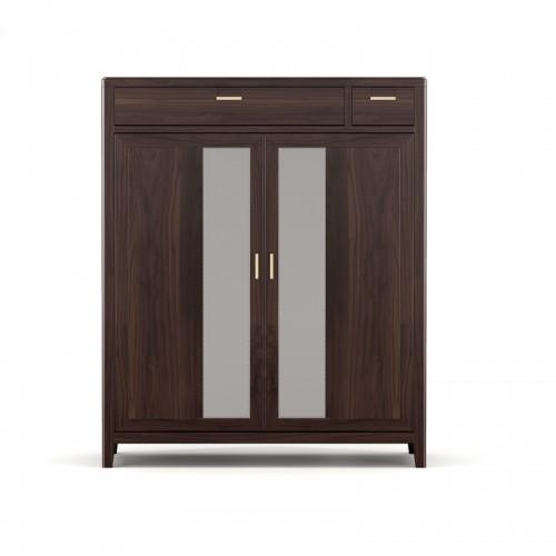 客厅实木玄关柜对开门鞋柜07