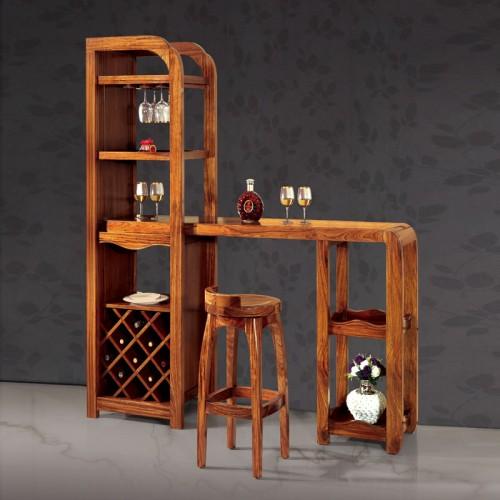 乌金木吧台桌现代家用隔断柜12