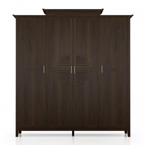 新中式卧室家具实木四门衣柜10