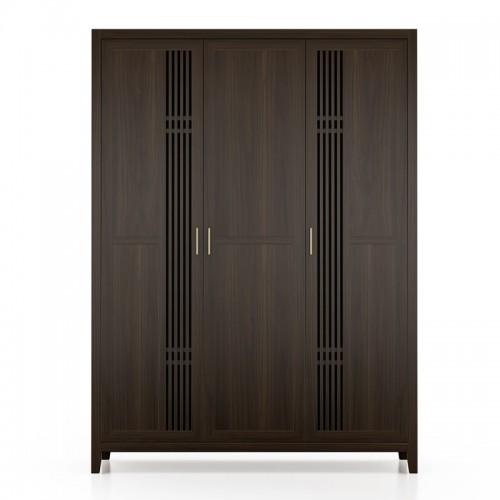 新中式实木衣柜三开门柜子11