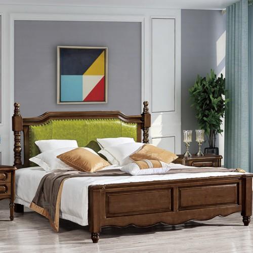 美式实木床现代简约双人床 小美27