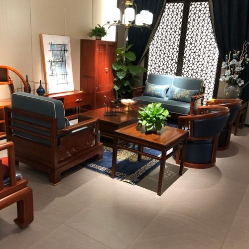 新中式沙发实木布艺沙发08