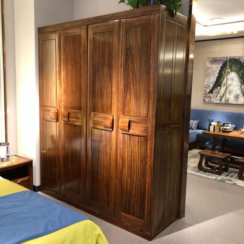 新中式实木主卧双人床衣柜10