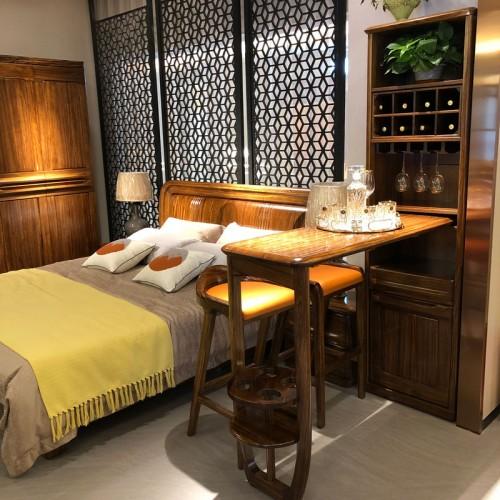 新中式实木卧室双人床衣柜13