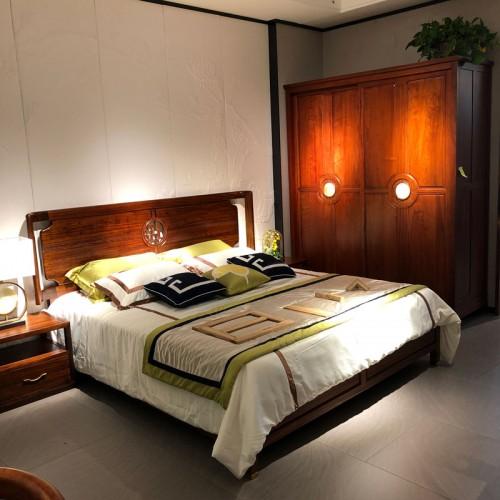 新中式全实木双人床衣柜14