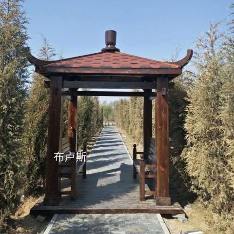 北京碳化木实木中式简易亭子沥青瓦户外私人会所别墅用的方柱 (8播放)
