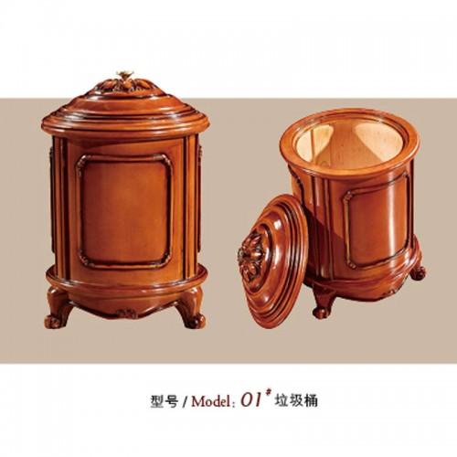欧式垃圾桶实木圆形桶 01