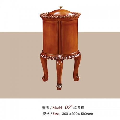 客厅欧式垃圾桶实木圆形桶 02