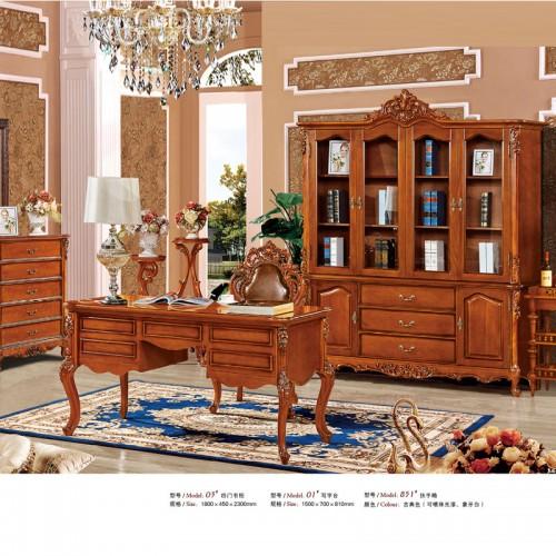 欧式实木书桌雕花书房家具01