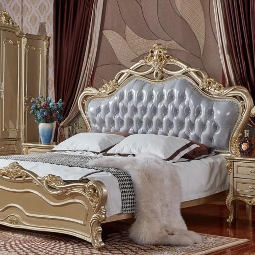奢华欧式真皮床头双人床套房22