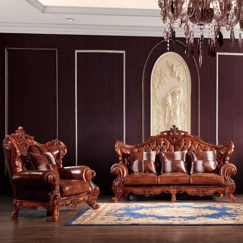大户型欧式别墅真皮沙发组合802