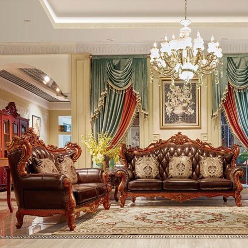 奢华欧式别墅真皮沙发组合801