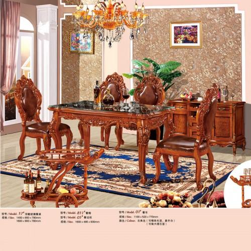 欧式实木浮雕玻璃长餐桌餐椅37