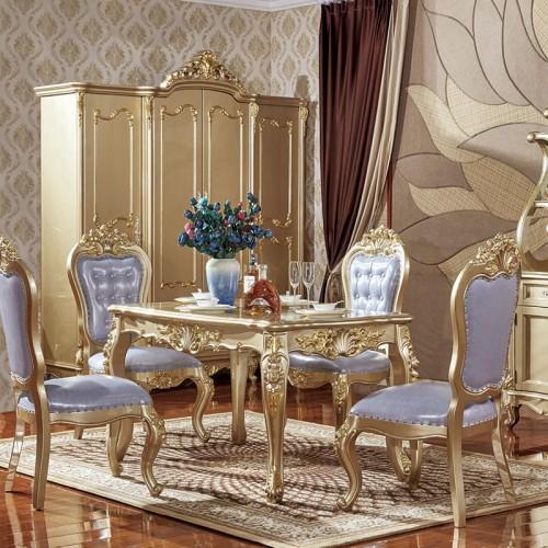 欧式香槟金实木餐桌椅组合10