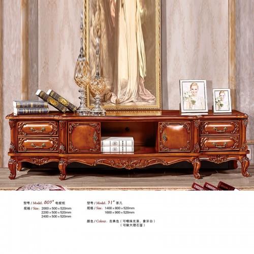 欧式实木雕花电视柜茶几803