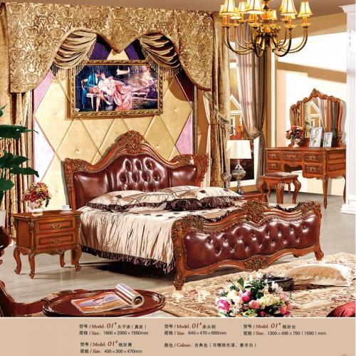 欧式古典太子床双人床套房家具01