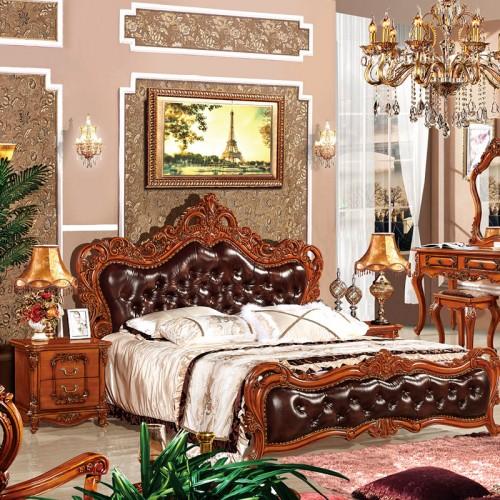 别墅卧室实木双人床套房家具05