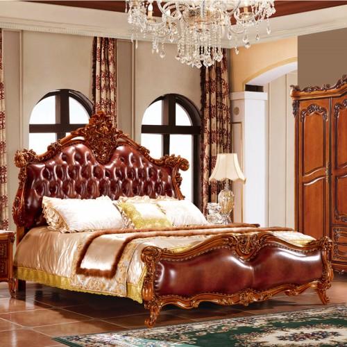 奢华欧式真皮实木双人床套房19