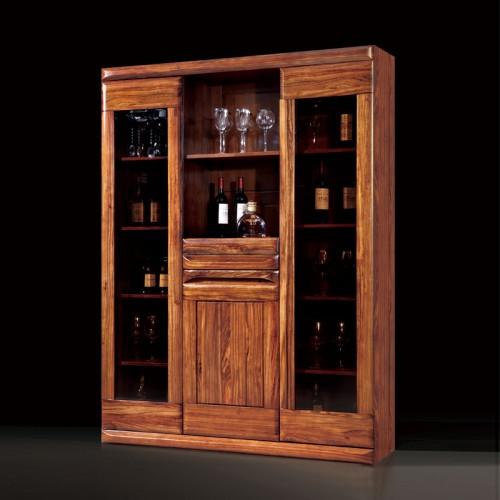 乌金木酒柜新中式玻璃隔断柜22