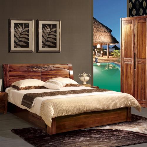 卧室家具乌金木双人床套房20