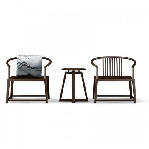 现代简约禅意实木圈椅茶几19