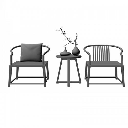 客厅禅意实木圈椅茶几20