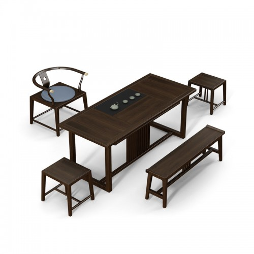 禅意实木茶台茶桌椅组合27