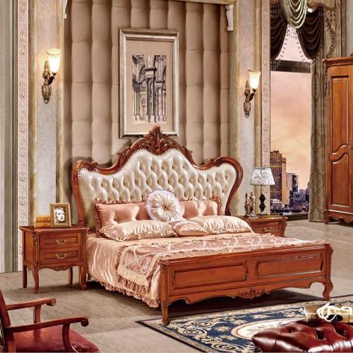 欧式实木床真皮床雕花双人婚床18
