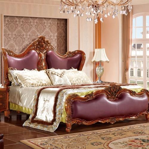 轻奢欧式实木真皮雕花双人床套房27