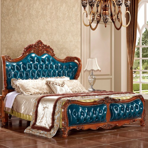轻奢实木真皮雕花双人床套房28