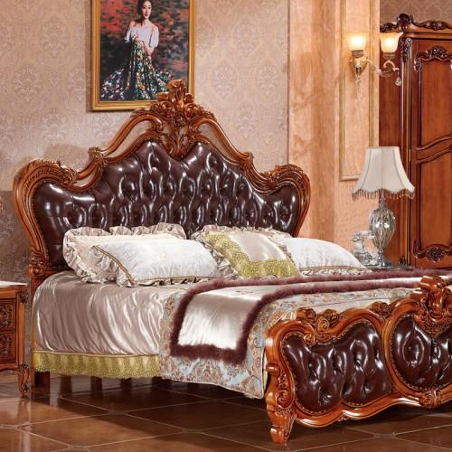 欧式实木床真皮雕花古典双人床20