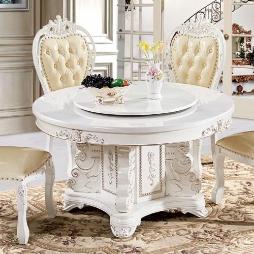 欧式大理石圆餐桌椅带转盘22