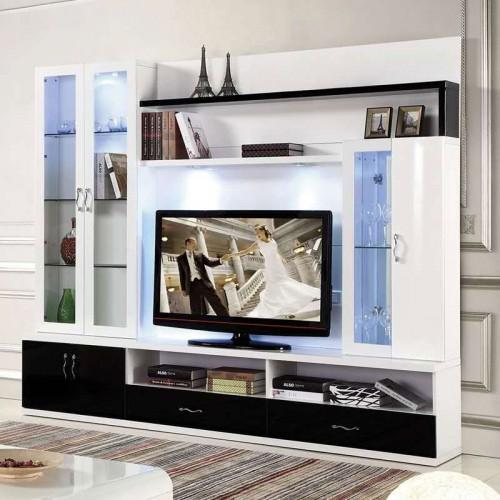 黑白影视墙拼接电视柜27