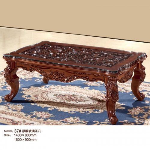 中式浮雕玻璃茶几37